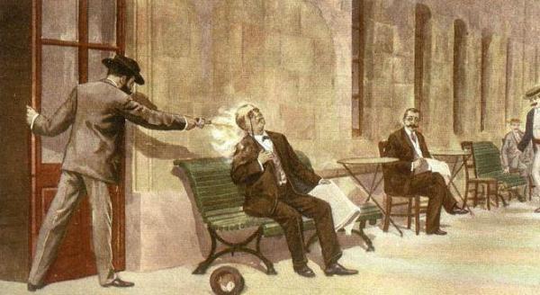 Assassinato de C. del Castillo por M. Angiolillo (gravura de V. Ginés)