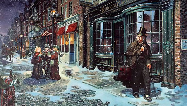 dean-morrissey-painting-of-scrooge-outside-his-london